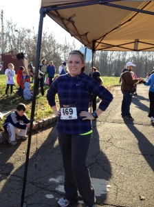 At the finish, chilly & happy!