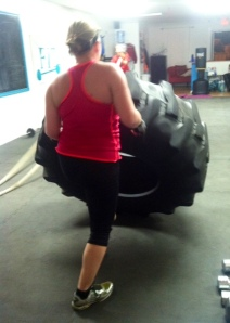 Flipping the 300 pound tire