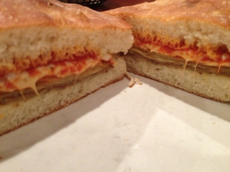 Eggplant Parm sandwich.  It was delicious!